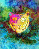 Head of a young tiger on abstract background with graphic structure effect. Head of a young tiger on abstract background with graphic structure effect stock illustration