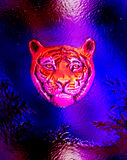 Head of a young tiger on abstract background with graphic structure and glass effect. Head of a young tiger on abstract background with graphic structure and stock illustration