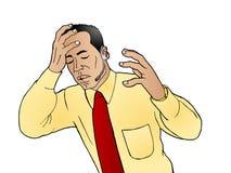 Headache. Illustration of a stress businessman got headache Stock Photos