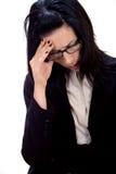 Headache. Woman having a headache stock photography
