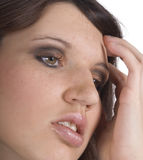 Headache. Young woman thinking about her problems royalty free stock images