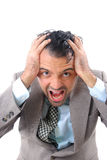 Headache. Businessman with a big headache Royalty Free Stock Images