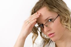 Headache. Woman has headache or problem Stock Photo