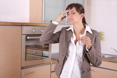 Headache. Business suffering pain at home stock photography