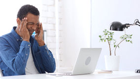 Headache,  Afro-American Man in Head Pain and Frustration Royalty Free Stock Image