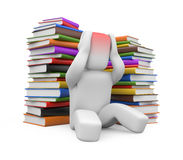 Headache from books Royalty Free Stock Photo