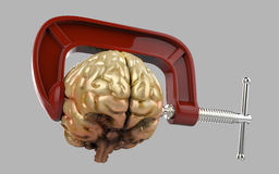 Headache brain in a clamp isolated Stock Image