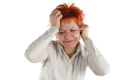 Headache of business woman Stock Photos