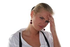 Headache of business woman Stock Images