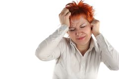 Headache of business woman Royalty Free Stock Images