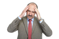 The headache. Businessman on a white background Royalty Free Stock Photography