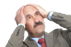 The headache. Businessman on a white background Stock Photography
