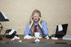 Headache from the cold. Businesswoman Stock Images