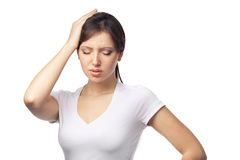 Headache concept - young woman suffering a migraine Stock Images