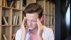 Headache ,depression , stress young Man Portrait