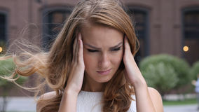 Headache, Frustrated Beautiful Young Girl, Outdoor Royalty Free Stock Photography