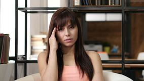 Headache, Frustrated Depressed Woman, Office. Beautiful interior stock video