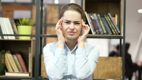 Headache, Frustrated Depressed Woman, Office. Beautiful interior stock footage