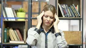 Headache, Frustrated Depressed Woman, Office. Beautiful interior stock video footage
