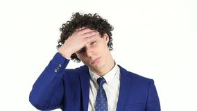 Headache, Frustrated Young Businessman, White Background stock footage