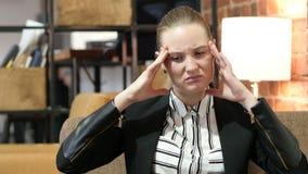 Headache, Frustration, Tense Business Woman. Beautiful interior stock video
