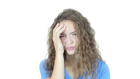 Headache, Frustration, Tension, Depressed Young Woman,Young,,,,. Headache, Frustration, Tension, Depressed Young Woman , young creative designer , good looking stock video footage