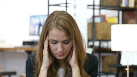 Headache, Frustration, Tension, Stressed Girl at Work in Office stock video