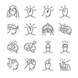 Headache line icon set. Included the icons as Tension headaches, Cluster headaches, Migraine, brain symptom and more. Line Design Icon Illustration: Headache Stock Image