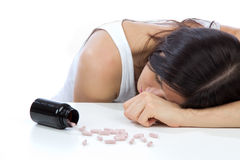 Headache look on pills medicine tablets Royalty Free Stock Images