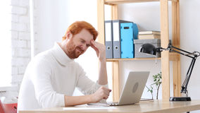 Headache, Man with Red Hairs with Head Pain and Frustration Royalty Free Stock Photos