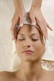 Headache massage Stock Image