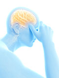 Headache/megrim. Illustration of a man having a headache Stock Image