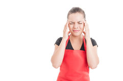 Headache or migraine concept with female employee Stock Photos