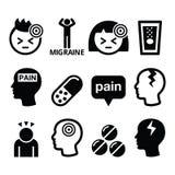 Headache migraine icons set Royalty Free Stock Image