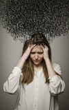 Headache. Obsession. Dark thoughts. Stock Images