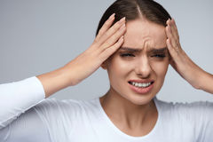 Headache Pain. Beautiful Woman Having Painful Migraine. Health Stock Image