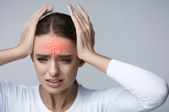 Headache Pain. Beautiful Woman Having Painful Migraine. Health. Headache Pain. Woman Feeling Terrible Strong Discomfort Head Ache. Beautiful Female Suffering Stock Images