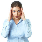 Headache. Pain. Isolated business woman portrait. Stock Photos