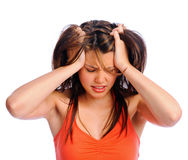 Headache pain migraine woman Stock Image