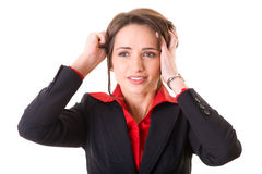 Headache, pain, stressed young businesswoman. Young attractive businesswoman holds her head, pain concept, studio shoot isolated on white Royalty Free Stock Photography