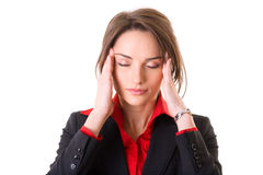 Headache, pain, stressed young businesswoman. Young attractive businesswoman holds her head, pain concept, studio shoot isolated on white Stock Photo