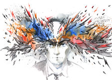 Headache. Painting of human health problems Stock Photography