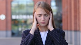 Headache, Portrait of Tense Business Woman in Office. 4k , high quality stock footage