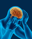 Headache x-ray scan of human head with brain side view Stock Photography