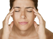Headache Dizzy. Photo of a white dizzy girl suffering headache or dizziness stock images