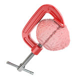 Headache or stress concept. Vise and brain. Stock Photo