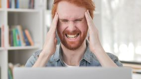 Headache, Stressed Casual Redhead Man at Work stock video footage