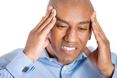 Headache and stressed man Royalty Free Stock Photo