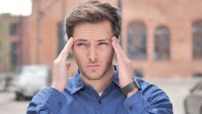 Headache, Stressed Young Man Feeling Uncomfortable stock footage