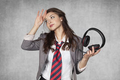 Headache of telephone conversations Stock Photo